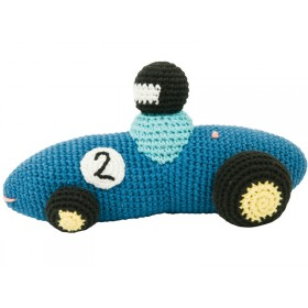 Crochet racing car rattle in blue by Sebra