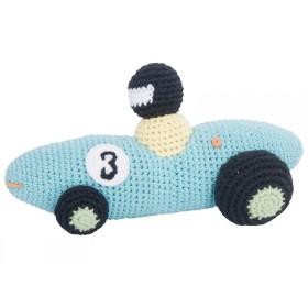 Crochet racing car rattle in turquoise by Sebra