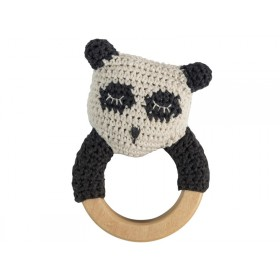 Sebra: Crochet Rattle Ring - Panda
