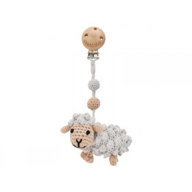 Sindibaba Crochet Pram Clip SHEEP DOLLY grey