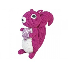Sindibaba crochet squirrel soft toy rattle purple