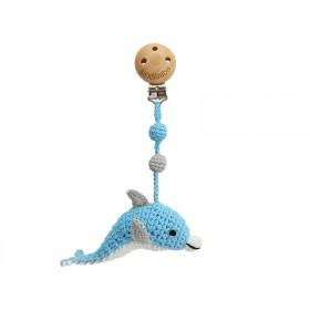 Sindibaba Crochet Pram Clip DOLPHIN BLUE