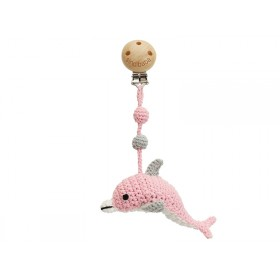 Sindibaba Crochet Pram Clip DOLPHIN PINK