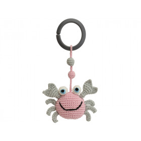 Sindibaba Crochet Pram Clip CRAB ROSE-GREY