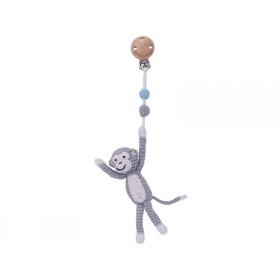 Sindibaba Crochet Pram Clip MONKEY grey