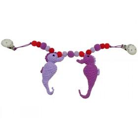 Sindibaba stroller chain seahorses pink