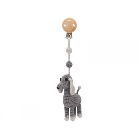 Sindibaba Crochet Pram Clip DOG LUCKY grey