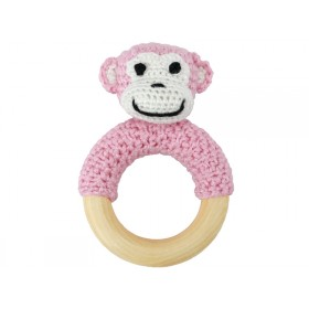 Sindibaba Rattle Ring MONKEY PINK