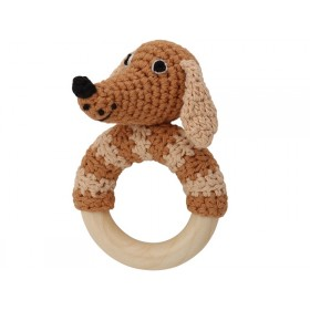 Sindibaba Rattle Ring DOG LUCKY brown