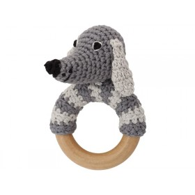 Sindibaba Rattle Ring DOG LUCKY grey