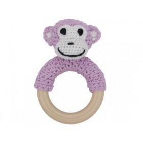 Sindibaba monkey rattle pastel-pink