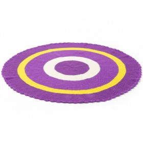 Round Smallstuff carpet in purple and yellow