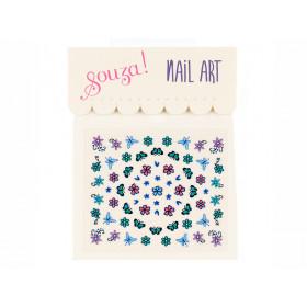 Souza Nail Stickers FLOWERS & BUTTERFLIES Blue