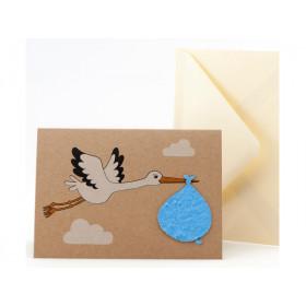 DieStadtgärtner Greeting Card STORK - BABY BOY