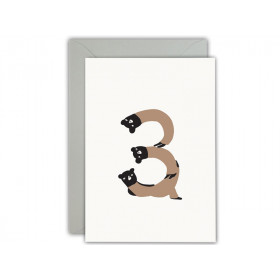 Ted & Tone Greeting Card Happy 3rd Birthday